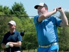 OTTAWA - JULY 17, 2020 - Two-time A division champion Marty McCaffrey tees off as Terry Brannan looks on early in their round.  The Ottawa Citizen Golf Championship golf tournament got underway Friday at the Mississippi Golf Club in Almonte. JULIE OLIVER/Postmedia For: 0718 baines golf