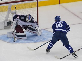 Aug 9, 2020; Toronto, Ontario, CAN;   Columbus Blue Jackets goaltender Joonas Korpisalo makes a save on Toronto Maple Leafs forward Andreas Johnsson during the third period of game five of the Eastern Conference qualifications at Scotiabank Arena on Sunday.