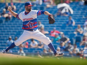 Éric Gagné pitches for the Ottawa Champions during a game against the Quebec Capitales. 'Champions' is a name Sam Katz says he will stay far away from for his new Ottawa based baseball team.