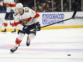 Evgenii Dadonov #63 playing for the Florida Panthers against the New York Islanders in October 2019.