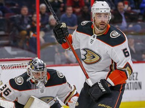 Defenceman Erik Gudbranson is seen during his time with the Anaheim Ducks.
