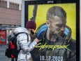 An advertisment of Cyberpunk 2077 game is seen on Dec. 4, 20202 before the expected release of Cyberpunk 2077 game, in Warsaw, Poland.