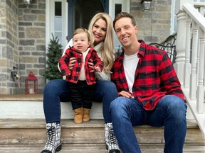 The Ottawa Redblacks' Nigel Romick, his fiancée, Melissa Lamb, and their son, Luca. Romick wasn't playing football in 2020, but he has been kept busy since Luca was born on Dec. 6 last year.