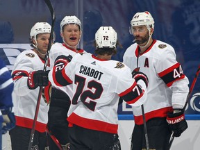 FILE: Brady Tkachuk #7 of the Ottawa Senators celebrates a goal against the Toronto Maple Leafs during an NHL game at Scotiabank Arena on February 17, 2021 in Toronto, Ontario, Canada.
