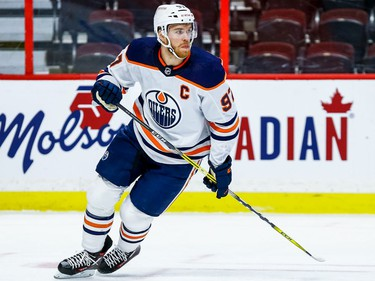 Oilers centre Connor McDavid turns up the ice during the first period of Tuesday's game.