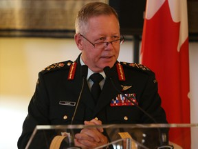 General Jonathan Vance talks to a small crowd at the French Embassy in Ottawa November 17, 2020.