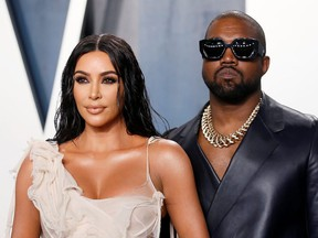 Kim Kardashian and Kanye West attend the Vanity Fair Oscar party in Beverly Hills during the 92nd Academy Awards, in Los Angeles, Feb. 9, 2020.