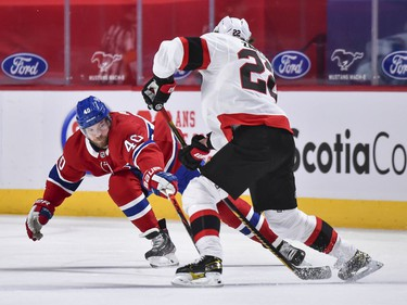 Joel Armia of the Canadiens challenges Nikita Zaitsev of the Senators during the second period.