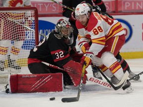 Calgary Flames left wing Andrew Mangiapane moves in for a shot against Ottawa Senators goalie Filip Gustavsson in the first period at the Canadian Tire Centre on Monday.