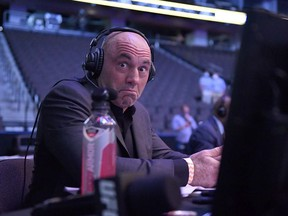 Announcer Joe Rogan reacts during UFC 249 at VyStar Veterans Memorial Arena on May 09, 2020 in Jacksonville, Florida.