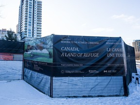 Construction site of the Memorial to the Victims of Communism on Wellington Street in Ottawa. December 20, 2019.