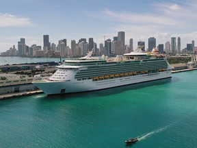 An aerial view from a drone shows Royal Caribbean's Navigator of the Sea docked at PortMiami on March 2, 2021 in Miami.