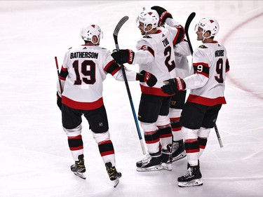 Ottawa Senators defenceman Artem Zub (2) celebrates his goal against Montreal Canadiens with teammates during the first period at Bell Centre on Saturday.