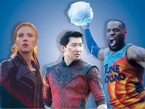 L-R: Scarlett Johansson in Black Widow, Simu Liu in Shang-Chi and the Legend of the Ten Rings and Lebron James in Space Jam: A New Legacy.