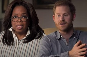 Oprah Winfrey and Prince Harry in a publicity still for their coming series.