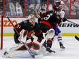 Ottawa Senators goaltender Anton Forsberg (31) follows the play as defenceman Artem Zub (2) battles with Montreal Canadiens right wing Joel Armia (40) during the second period.