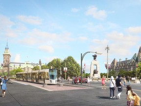 STO renderings envision a tramway running through Gatineau into Ottawa.
