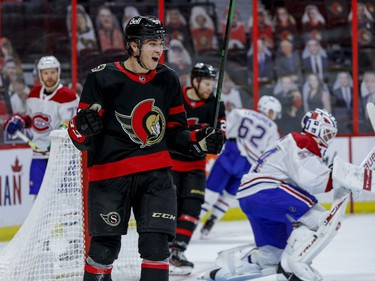 Ottawa Senators centre Shane Pinto (57) celebrates his first NHL goal against the Montreal Canadiens during the first period.