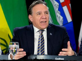 Quebec Premier Francois Legault is seen during a news conference after a meeting with provincial premiers in Toronto, Dec. 2, 2019.