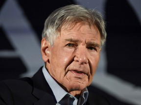 """Harrison Ford speaks at a press conference for the premiere of his new movie """"Call of the Wild,"""" on February 5, 2020, in Mexico City."""
