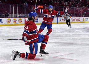 Montreal Canadiens forward Tyler Toffoli (73) reacts  after scoring the game- and series-winning goal against the Winnipeg Jets on Monday night.