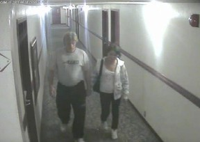Bradley Barton and Cindy Gladue are shown on surveillance video at the Yellowhead Inn on the first of two nights the pair spent together.