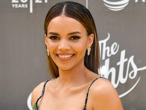 """U.S. singer-songwriter Leslie Grace attends the opening night premiere of """"In the Heights"""" during the Tribeca Festival at the United Palace Theatre on June 9, 2021 in New York City."""