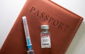"""A syringe and a vial labelled """"coronavirus disease (COVID-19) vaccine"""" are placed on a passport in this illustration taken April 27, 2021."""