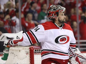 Goalie Petr Mrazek of the Carolina Hurricanes looks on after allowing a goal against the Washington Capitals at Capital One Arena on April 20, 2019 in Washington, D.C.