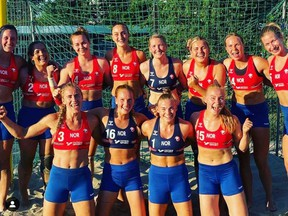 Norwegian Handball Federation shared this image of the women's team, saying it supported the athletes' stance to push for comfortable uniforms.