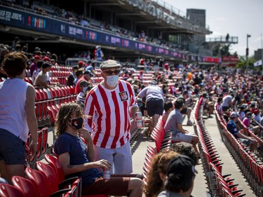 The stands fill with excited fans as Atletico Ottawa host their first home game against the HFX Wanderers FC in the first game in front of a live audience Saturday, August 14, 2021, at TD Place.