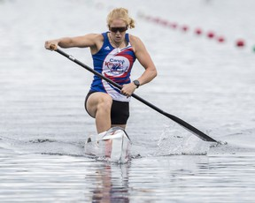 Olympic medallist Laurence Vincent Lapointe races in the C-1 200-metre at the Canoe Kayak Canada Sprint National Championships at the Rideau Canoe Club race course at Mooney's Bay on Monday.