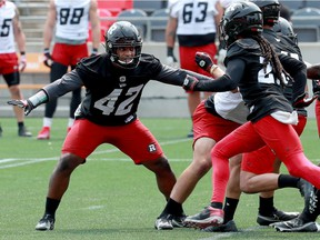 Since coming to Ottawa in 2018, middle linebacker Avery Williams (42) has become a sparkplug of the defence.