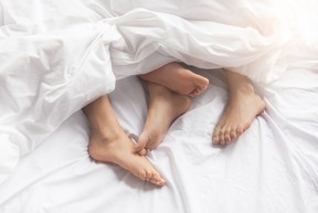 Young couple intimate relationship on bed passion