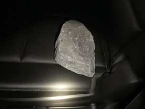 Stormont, Dundas and Glengarry OPP are looking for the culprits who threw rocks off a Highway 401 overpass near Bainsville Saturday evening, striking two passing tractor trailers.