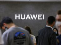 The Huawei logo at a technology fair in Berlin, Germany, in Sept. 2020.