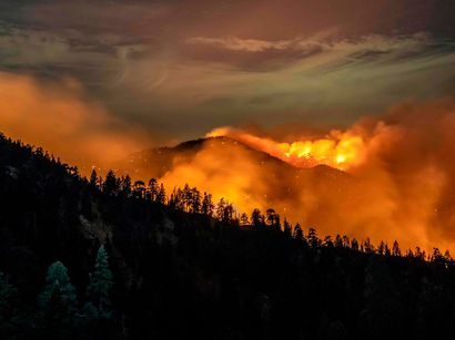 The Bobcat Fire continues to burn through the Angeles National Forest in Los Angeles County, north of Azusa, California, September 17, 2020.