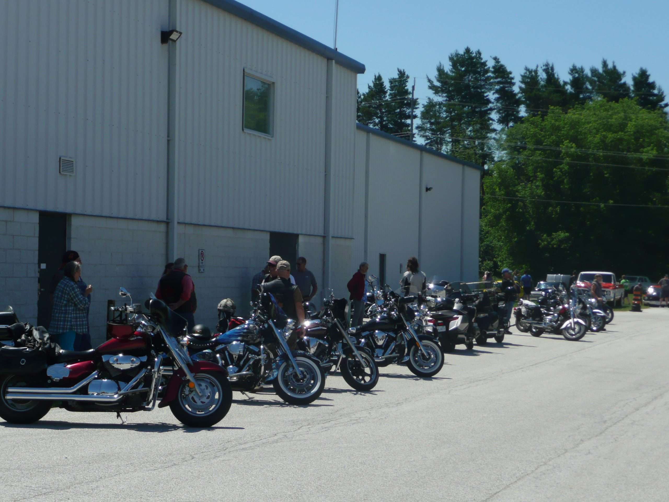 A large contingent of bikers lined up in the parkting lot of The Plex in Port Elgin June 28 for the 'Cruising Grey Bruce' car tour.