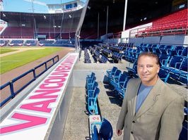 Andy Dunn has worked tirelessly for the last decade raising the Vancouver Canadians' profile, as he shows here on home opening day back in 2008 at Nat Bailey Stadium.