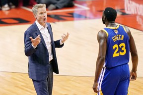 FILE: Jun 2, 2019; Toronto, Ontario, CAN; Golden State Warriors head coach Steve Kerr talks with forward Draymond Green (23) after he was called for a foul against the Toronto Raptors during the second quarter in game two of the 2019 NBA Finals at Scotiabank Arena. Mandatory Credit: Kyle Terada-USA TODAY Sports ORG XMIT: USATSI-404666