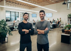 FILE: Dutchie's CEO Ross Lipson, left, and his co-founder brother and chief product officer, Zach Lipson, pose pre-pandemic at the Dutchie office in Bend, Ore. /