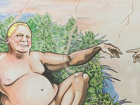 A Kingston, Ont. dispensary commissioned a weed-friendly parody of Michelangelo's fresco painting, The Creation of Adam