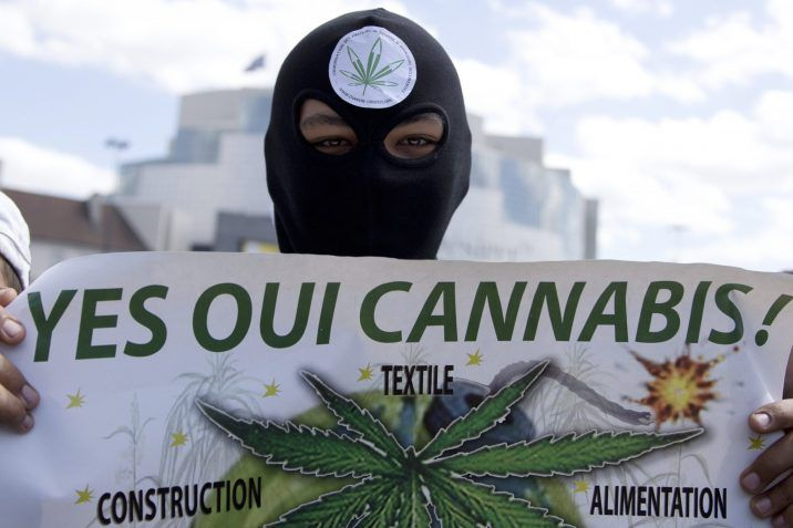 FILE: People demonstrate to call for the legalisation of marijuana, on May 9, 2015 in Paris, France.