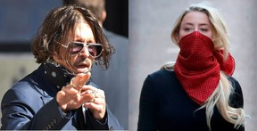 Johnny Depp, left, and Amber Heard, right. Photo, left: DANIEL LEAL-OLIVAS / AFP/ Getty and Photo, right: TOLGA AKMEN / AFP/ Getty Images