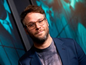 """FILE - Seth Rogen attends the special screening of Warner Bros Pictures' """"Motherless Brooklyn"""" in Los Angeles, on October 28, 2019."""