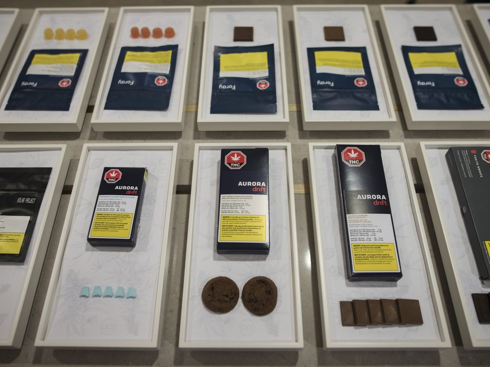 Health Canada is warning people to do more to keep edible pot products out of the hands of kids. A variety of cannabis edibles are displayed at the Ontario Cannabis Store in Toronto on Friday, Jan. 3, 2020.