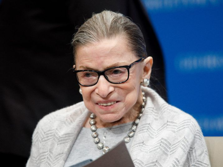 FILE: Supreme Court Justice Ruth Bader Ginsburg delivers remarks at the Georgetown Law Center in 2019, in Washington, DC.
