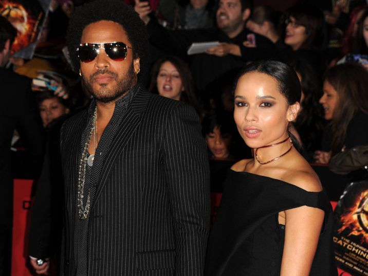 "Lenny Kravitz and his daughter Zoe arrive for the Los Angeles premiere of ""The Hunger Games: Catching Fire"" at the Nokia Theatre LA Live in Los Angeles, California, November 18, 2013."