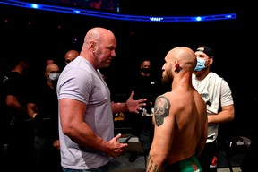 FILE: UFC president Dana White (L) talks with Brian Kelleher (R) of the United States after winning his Men's Bantamweight bout during UFC Fight Night at VyStar Veterans Memorial Arena on May 13, 2020 in Jacksonville, Florida.