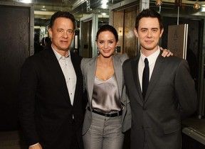 """Tom Hanks, Emily Blunt, and Colin Hanks attend the after party for The Cinema Society and Brooks Brothers screening of """"The Great Buck Howard"""" at Soho Grand Hotel on March 10, 2009 in New York City."""